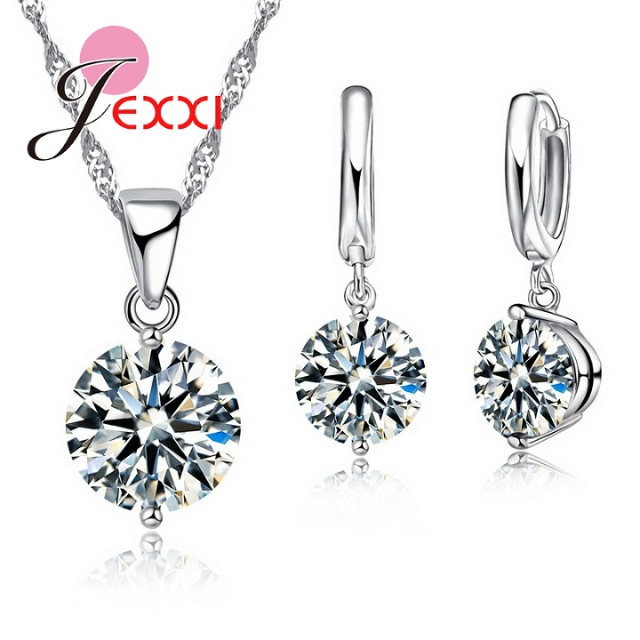 Charm 925 Sterling Silver Jewelry Sets 8 Colors Cubic Zircon Pendant Set Anniversary Earrings Necklace Accessories 1