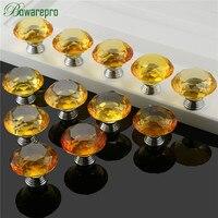 bowarepro Diamond Crystal Glass Yellow handles hardware kitchen glass handle door metal furniture parts 40mm 12pcs+36Pcs Screws