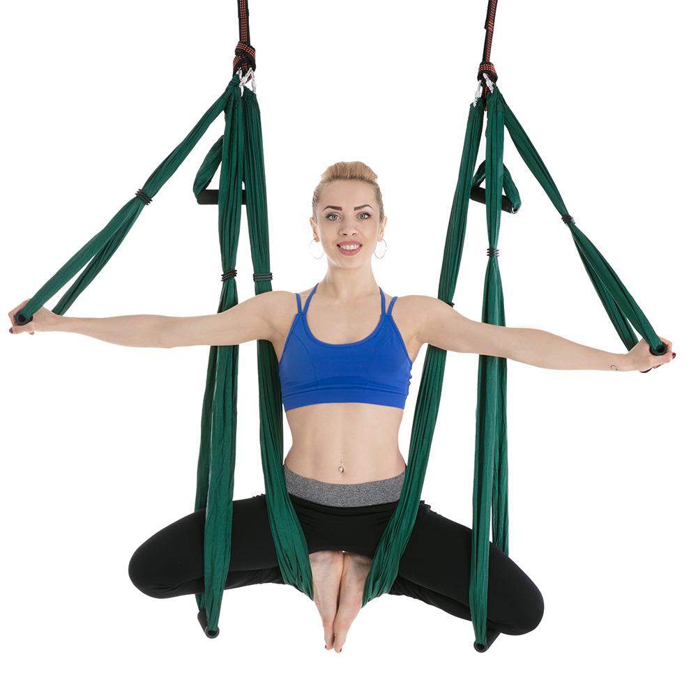 hamac de yoga vert foncé baddha konasana, fly aerial yoga aérien