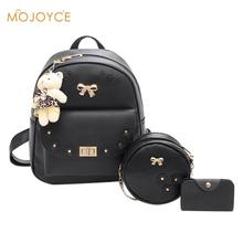 MOJOYCE Fashion Backpack Women PU Leather Back Pack Women Backpack Set School Bags for Girls sac a dos femme with Purse and Bear