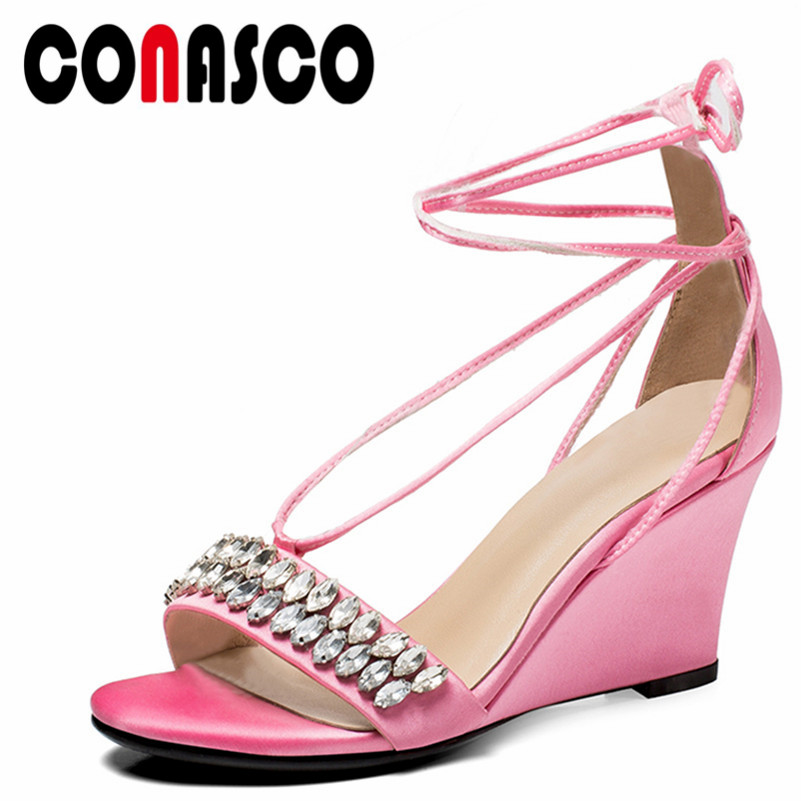 Cuñas Conasco Seda Fiesta Zapatos Mujer Correa Tobillo Rhinestone 7Ygbfyv6