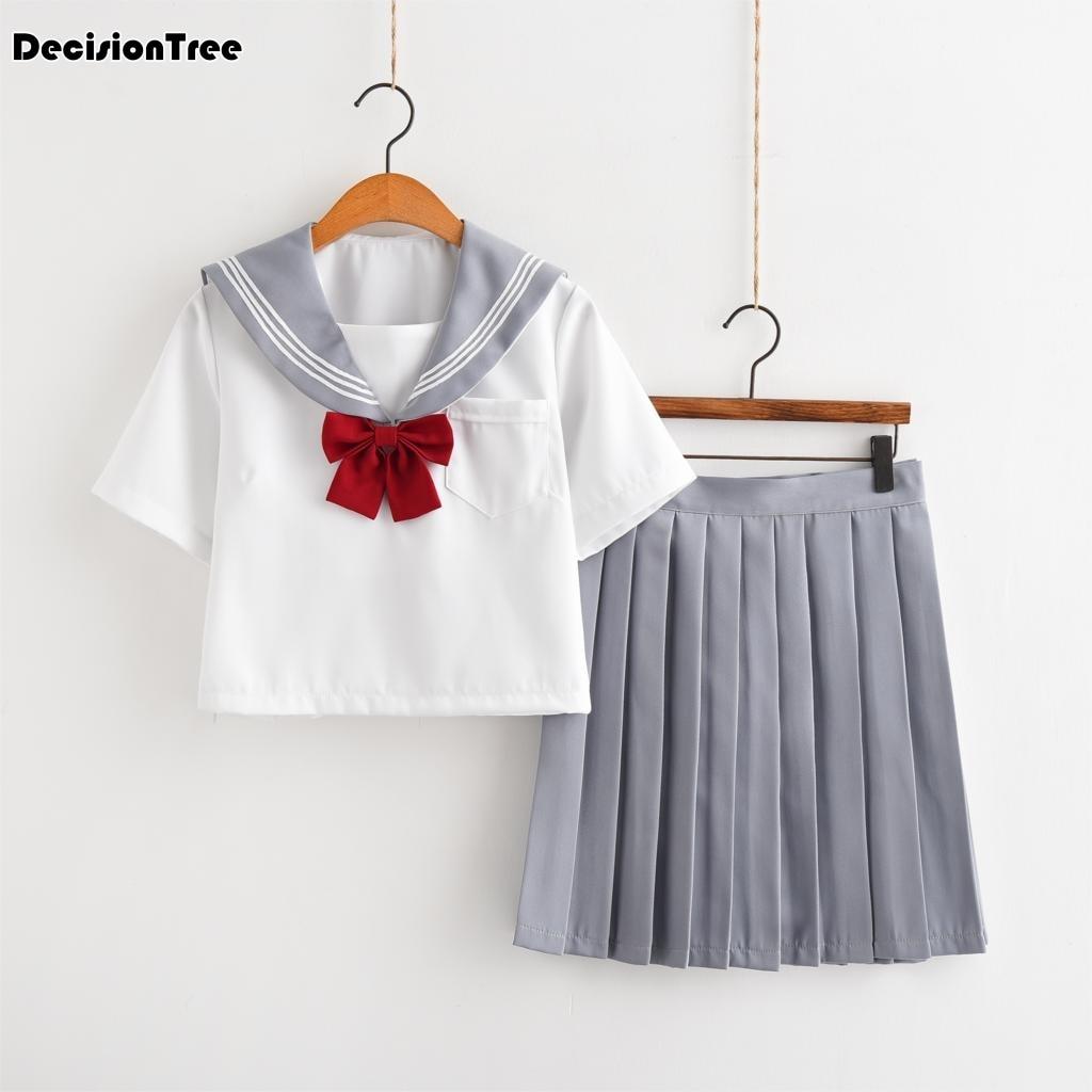 2019 uniformes d'école d'été pour les filles jk uniforme de marin blanc japonais cosplay classe d'école à manches longues costumes ensemble de conception sakura