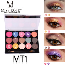 Brand MISS ROSE New 15 Colors Pearlescent Eye Shadow Sequins Eyeshadow Palette Glitter Powder Essential