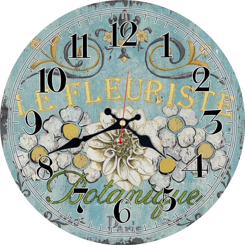 Vintage Flowers Design Clock Silent