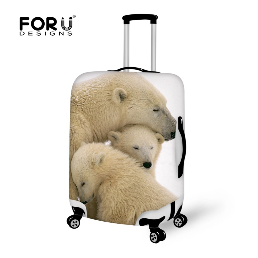 FORUDESIGNS Hot Sale White Bear Printing Travel Luggage Suitcase Protective Cover Dust Prevention Cover For 18-28inch ...