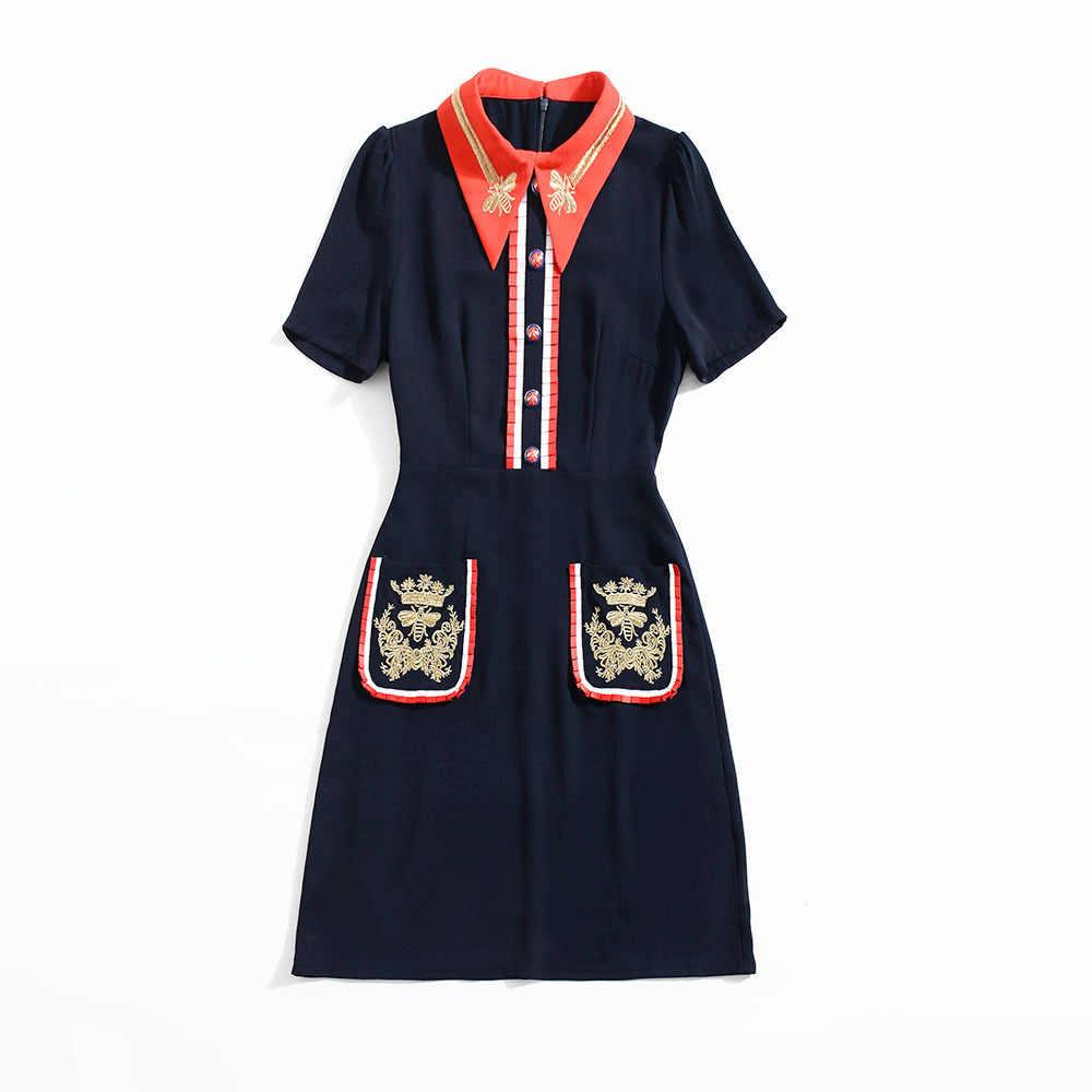 2019 abeja bordada Vestidos de verano US mujeres paquete Hip vestido azul nuevo mujeres bordadas Vintage camisa vestido