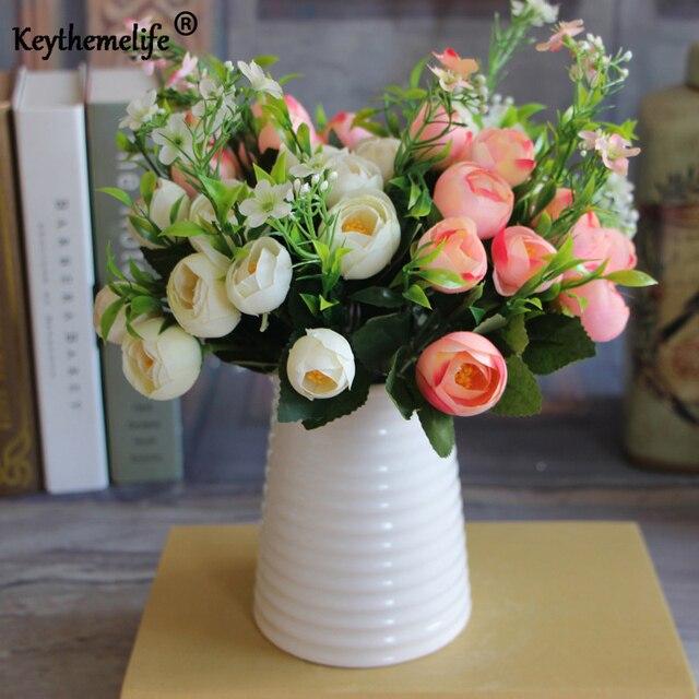 Keythemelife 6 colors Artificial flower 10 mini heads tea bud Rare Garden Landscape Fake Flower Home Decor fresh room FA
