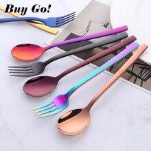 2Pcs/set Stainless Steel Rainbow Children Students Gift Tableware Sets Long Handle Portable Kids Fork Soup Scoop Dinnerware Set