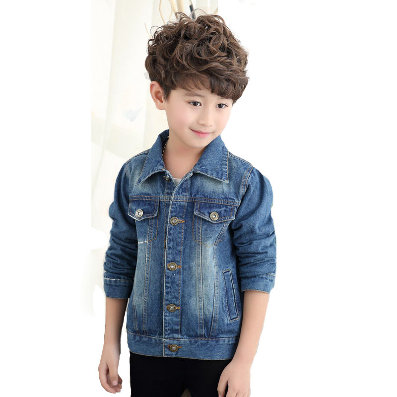 2017 new spring children's jacket casual boy jeans jackets long sleeve girls outerwear washed denim jacket DQ549 цена 2017