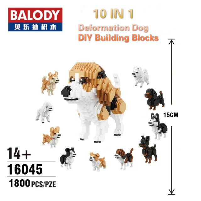 Balody 10 In 1 Deformation Dog Educational DIY Building Blocks Toy Animal Model Brinquedos Bricks Toys Kids Best Gifts image
