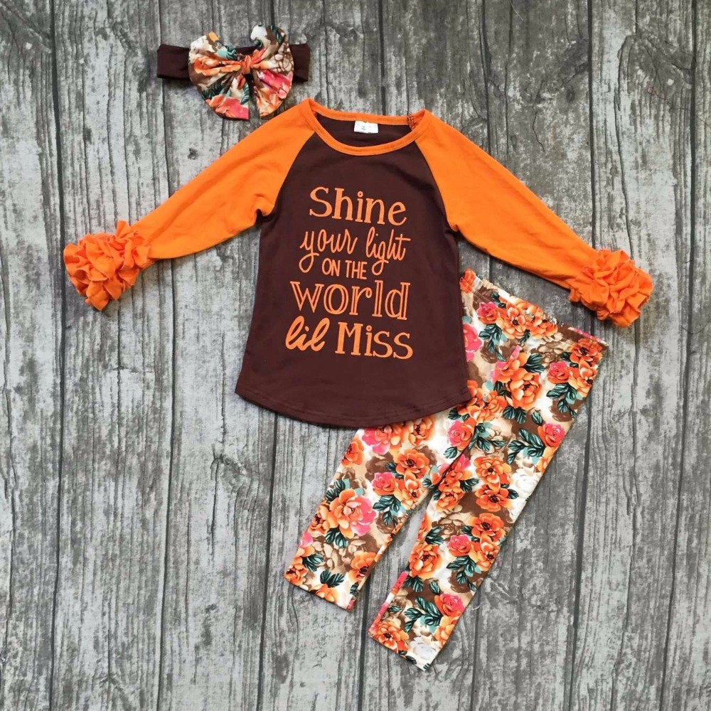 Fall/Winter girls brown orange outfits kids pant sets floral shine clothes kids ruffle pant boutique with accessory hairband frank buytendijk dealing with dilemmas where business analytics fall short