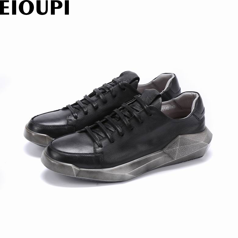 EIOUPI new design genuine real leather mens fashion business casual retro shoe men round toe shoes e108 new men s business casual leather stage shoes silver retro leather dating personality shoes
