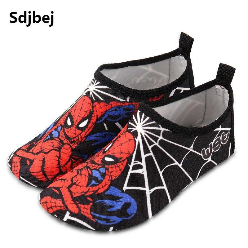 Sdjbej Kids Quick Drying Swim Water Shoes Casual Footwear Non-slip Aqua Socks For Beach Pool Cartoon Children Slippers