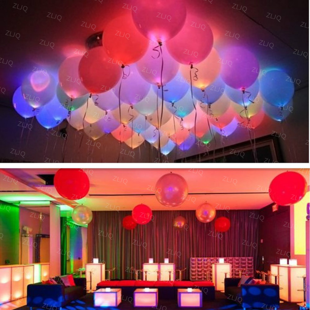 10pcs lot led balloons 12 inches latex multicolor lights for Balloon decoration equipment