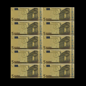 10 шт 5 евро золотые банкноты в 24K золотые поддельные бумажные деньги для сбора евро банкнот наборы Поддельные Банкноты для денег EU коллекция