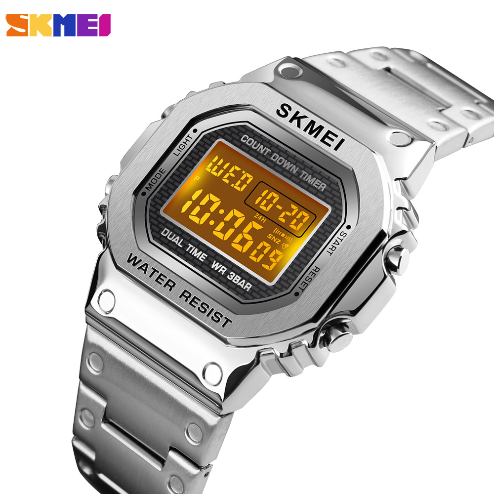 <font><b>SKMEI</b></font> Luxury Sports Men's Watch Fashion Digital Waterpoof Alarm Clock Chronograph Stainless Steel Wristwatch Relogio Masculino image