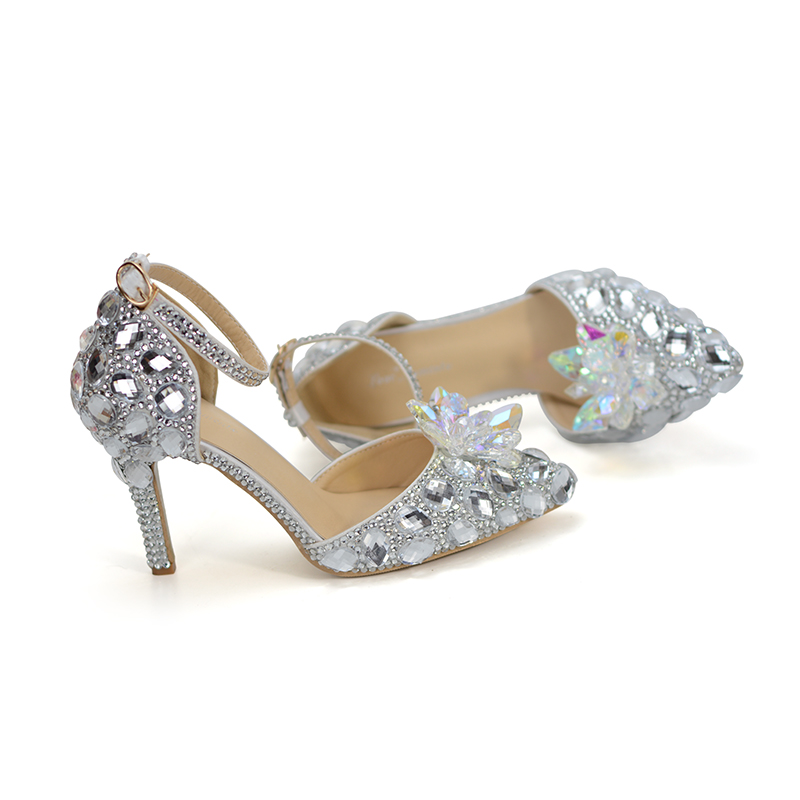 Punta de novia, zapatos de boda, zapatos de Cenicienta de bombas tobillo Correa hebilla zapatos de diamantes de imitación de plata de dama de honor zapatos más tamaño 10-in Zapatos de tacón de mujer from zapatos    3
