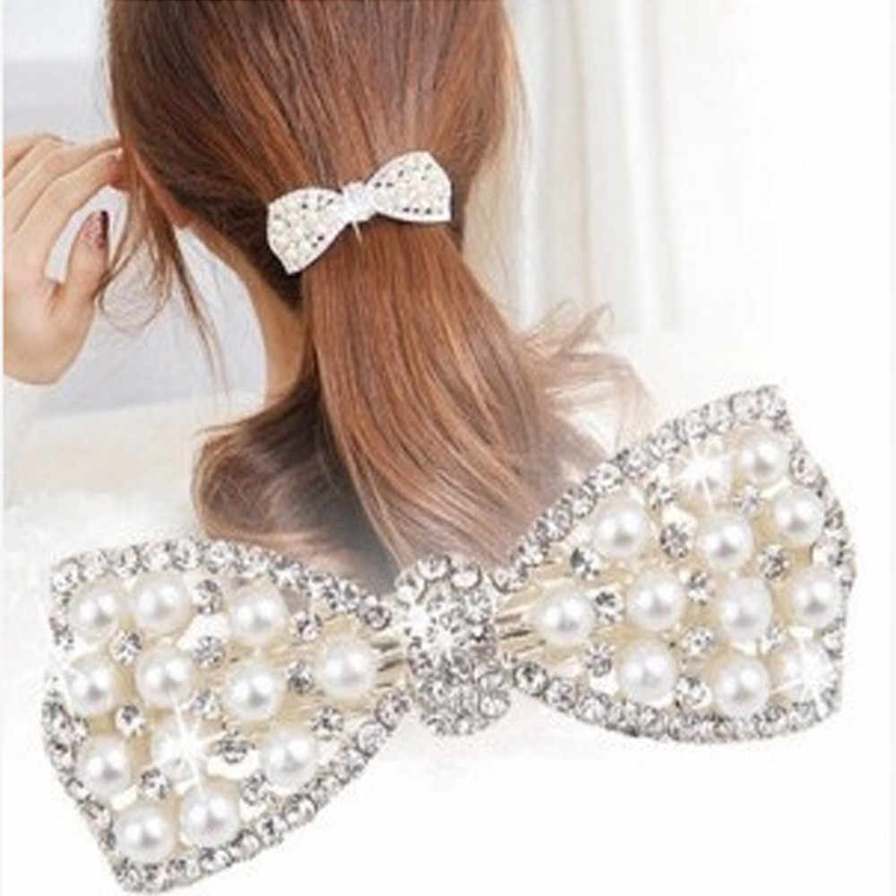 2018 New Brand Hairpins Hair Pin Pearl Diamond Butterfly Jewelry Shinning For Women Lady Girls Barrettes Head Accessories