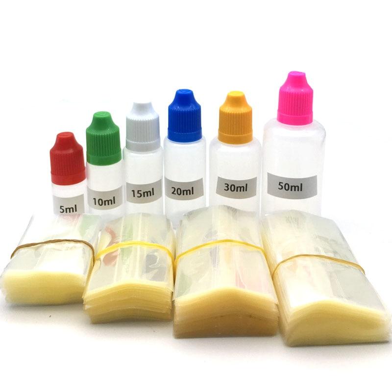 200Pcs Clear PVC Shrink Wrap Film Tube For 5ml 10ml 15ml 20ml 30ml 50ml Plastic Bottle E Liquid Bottle Heat Shrink Film Free