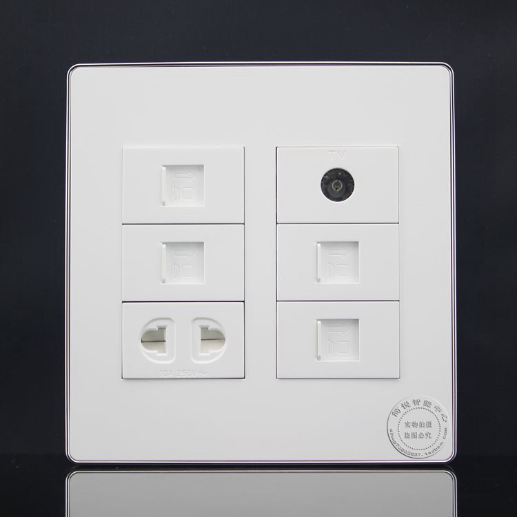 цена на 120MM Wall Socket Plate 6 Ports Four Network RJ45 Cat5e & TV & Two Hole Power Socket Panel Faceplate Outlet