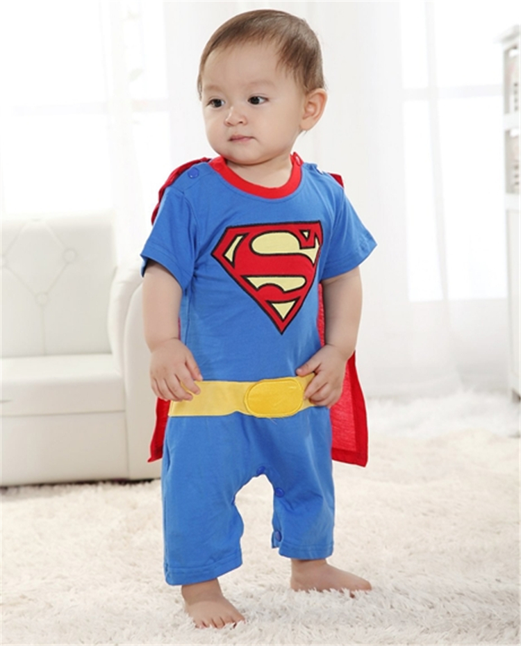 Baby Boy Romper Superman Short Sleeve with Smock Halloween Christmas Costume Gift Boys Rompers Summer Clothing in Rompers from Mother Kids