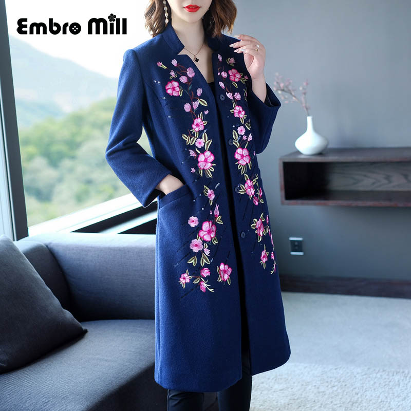 High-end Winter Blue Trench Coats For Women Vintage Elegant Floral Woolen Embroidery Loose Lady Plus Size Coat Female M-4XL