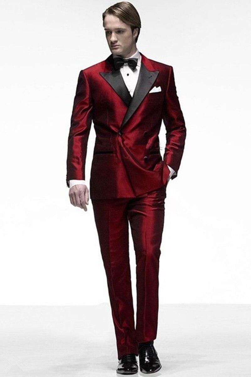 Trajes de hombre rojo oscuro novio esmoquin mejor hombre traje de etapa  Blazer (chaqueta + Pantalones + corbata) 2017 padrino boda fiesta cena hombres  traje ... 1b6b6b87a787
