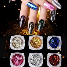 1 Set Nail Art Glitter Aluminum Flakes 6 Colors 0.2g Mirror Effect Powder Irregular Gel Polish Chrome Pigment
