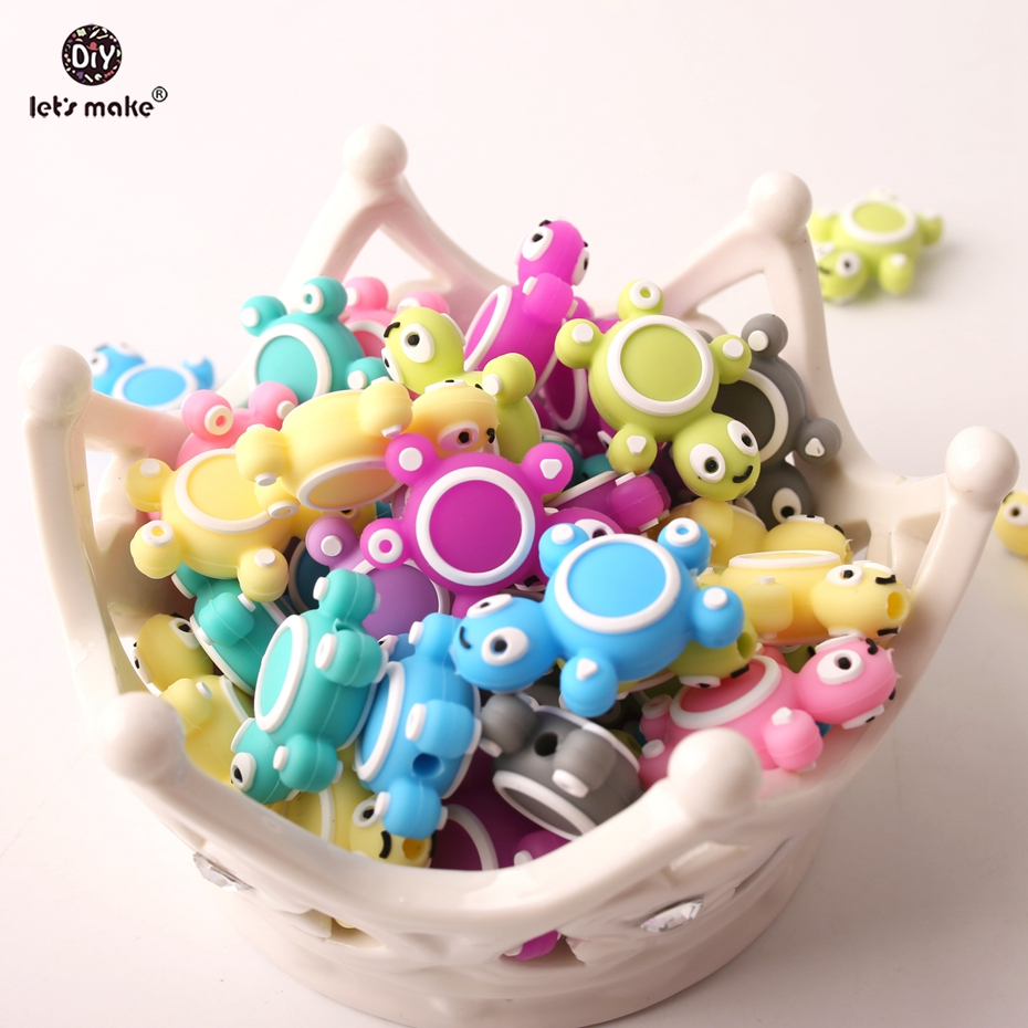 Let's Make Baby Wholesale Silicone Teether 300pcs Mini Turtle Beads Shaped DIY Necklace Silicone Baby Teether beads