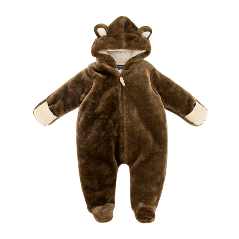 5 Colors Infant Rompers Warm clothes Brown Color Top Quality Romper Jumpsuit Long Sleeve Baby Product Romper With Cap Hat warm brown
