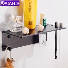 Bathroom Shelf Black Aluminum Corner Storage Holder Shelves Accessories Creative Toilet Shampoo Cosmetic Rack Organizer