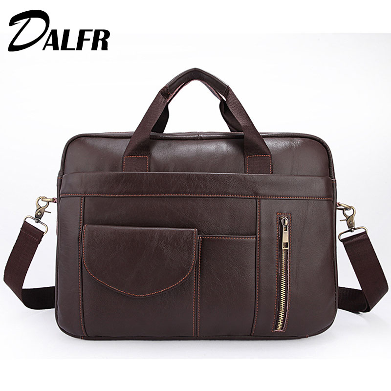 DALFR Leather Handbags Solid Fashion Briefcase 18 Inch Cowhide Bags for Men  Zipper Water Proof Messenger Bags