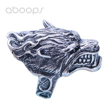 Vintage Gothic Big Black 925 Sterling Silver Wolf Head Ring Jewelry for Men Boys Size 8.5 9 10 11 11.5 Free Shipping недорого