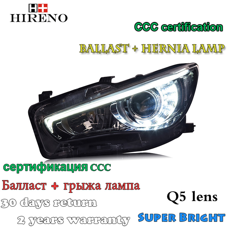 Hireno Car styling Headlamp for Infiniti Q50 Q50L 2014-2017 Headlight Assembly LED DRL Angel Lens Double Beam HID Xenon 2pcs hireno car styling headlamp for 2003 2007 honda accord headlight assembly led drl angel lens double beam hid xenon 2pcs