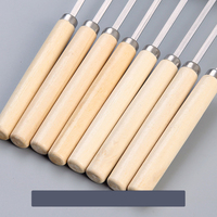 Stainless steel wooden handle barbecue stick mutton kebab tool barbecue kebab articles iron stick flat stick fitting