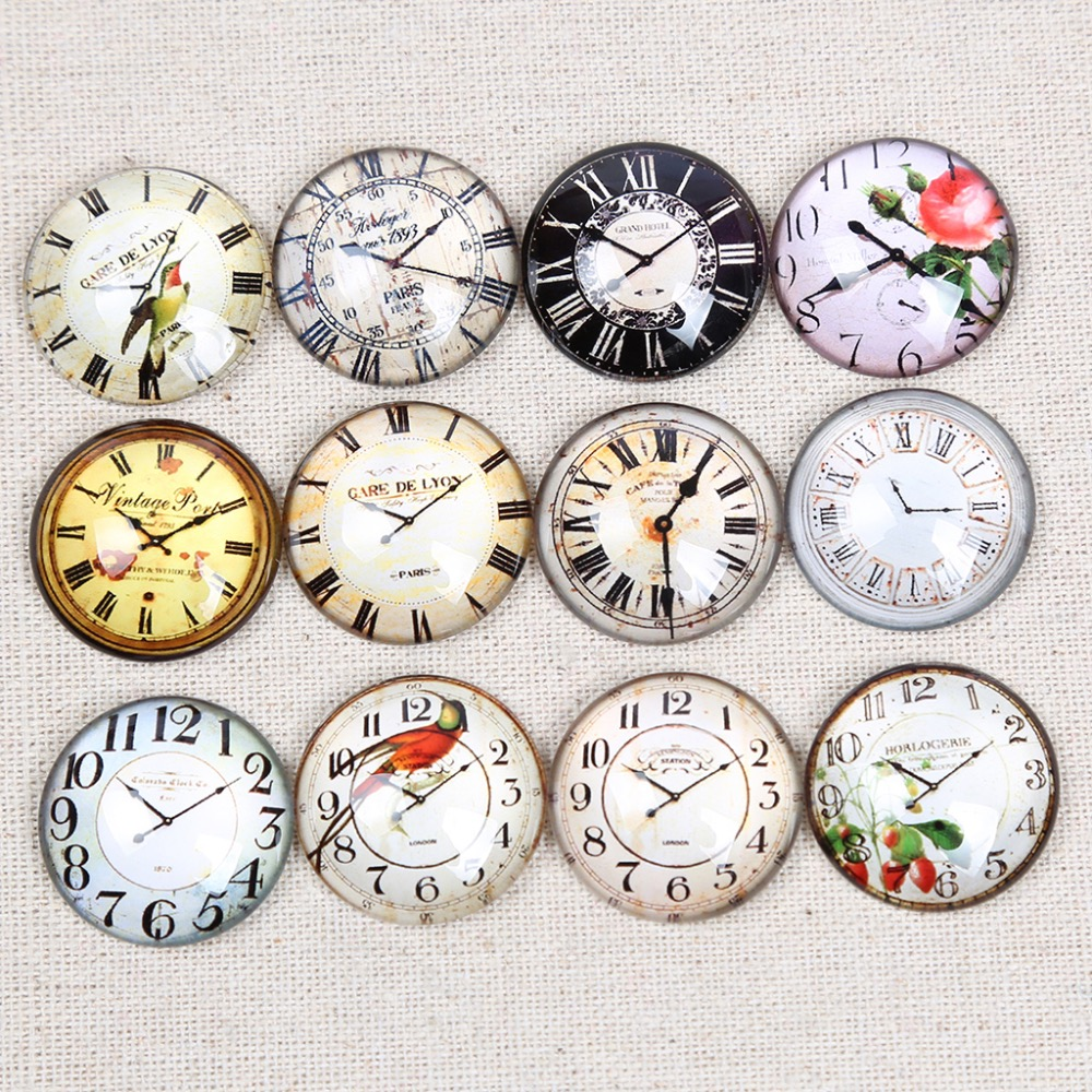 reidgaller vintage clock photo round glass cabochons 30mm 25mm 20mm 12mm diy jewelry findings for pendant necklacereidgaller vintage clock photo round glass cabochons 30mm 25mm 20mm 12mm diy jewelry findings for pendant necklace
