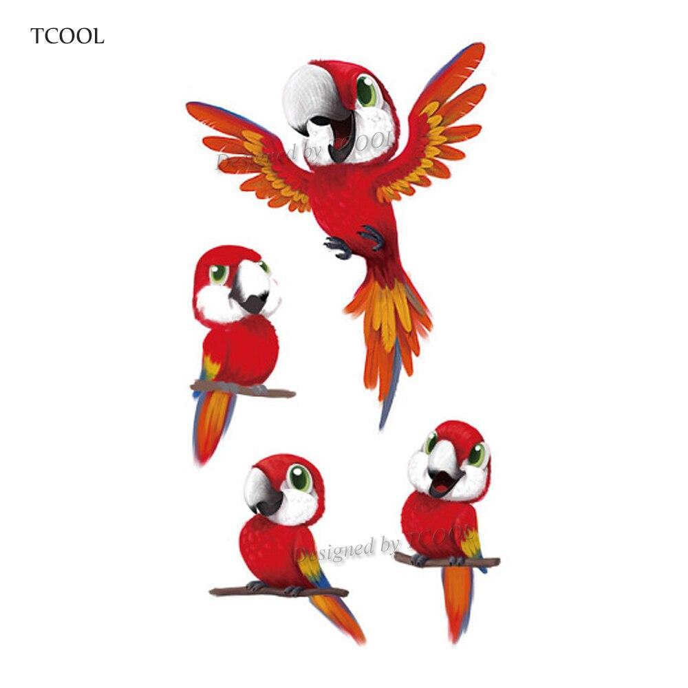 HXMAN Colorful Parrot Women Temporary Tattoo Sticker Tattoos For Waterproof Men Body Art Kids Hand Fake Tatoo 10.5X6cm A-191