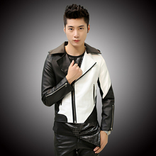 Fashion 2015 New Design Korean Slim stitching men short leather stand collar PU leather jacket coats(one jacekt) LCM325