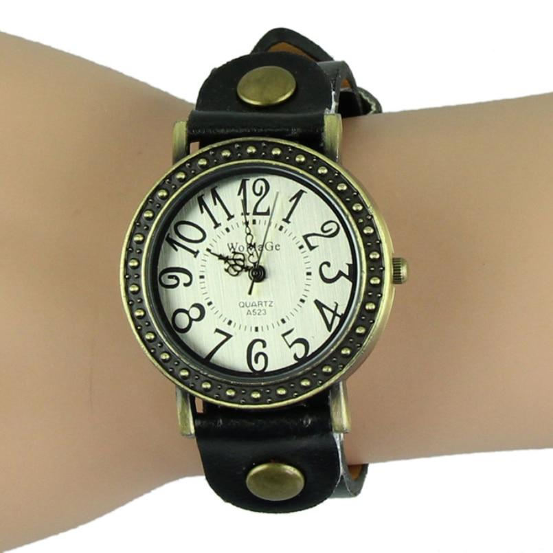 Excellent Quality Women Vintage Leather Bracelet Watch Antique Bronze Dial Womens Wristwatch Quartz Watches Relojes Mujer