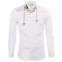 Luxury Men's shirts Brand Long Sleeve Shirts Men with Chain Slim Fit Mens Dress Shirts Casual Chemise Homme Camisas Hombre Black