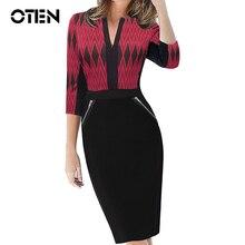 OTEN Women Formal Bodycon Dress Elegant Vintage 1 2 Sleeve Zipper tartan Sheath Party Tunic Pencil
