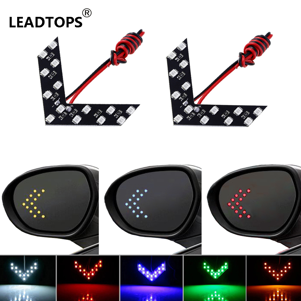 Leadtops 2 pcs lot 14 smd led arrow panel for car rear view mirror indicator