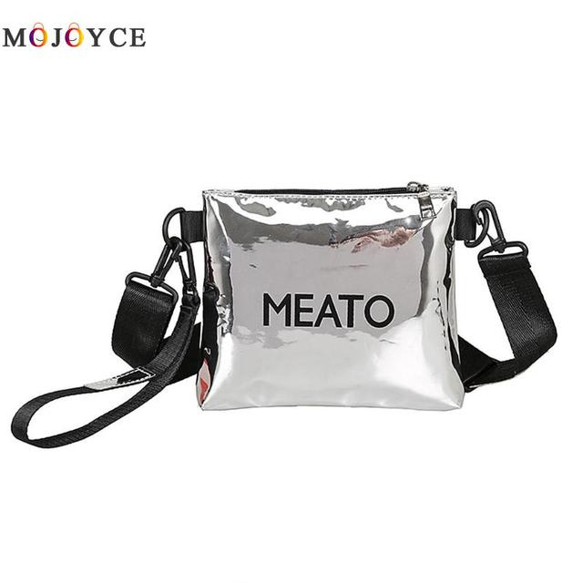 3745c52598 Casual Women Shoulder Bag Fashion Mirror Patent Leather Zipper Daily Female  Wide Belt Crossbody Bag