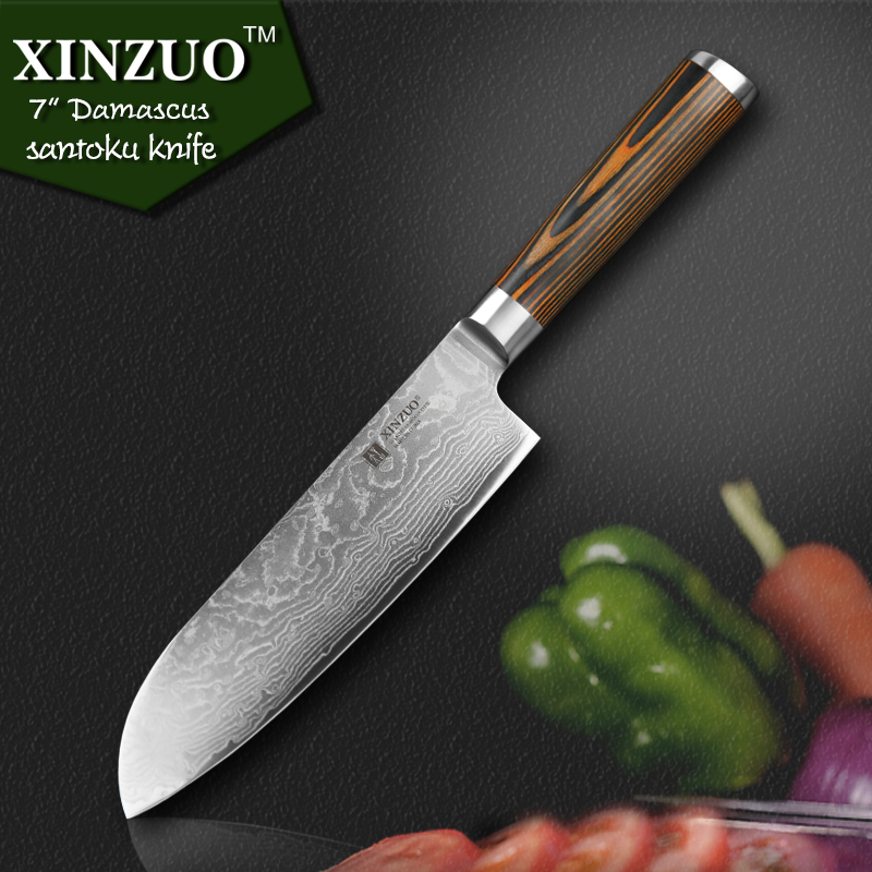 XINZUO 7 inch Japanese chef font b knife b font Damascus steel kitchen font b knives