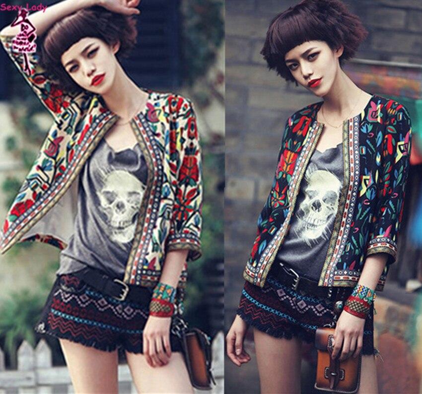 Retro Ethnic Colorful Embroidery Print Short Jacket Women's Autumn Crew neck 3/4 Sleeve Slim Jacket Thin Padded Coats