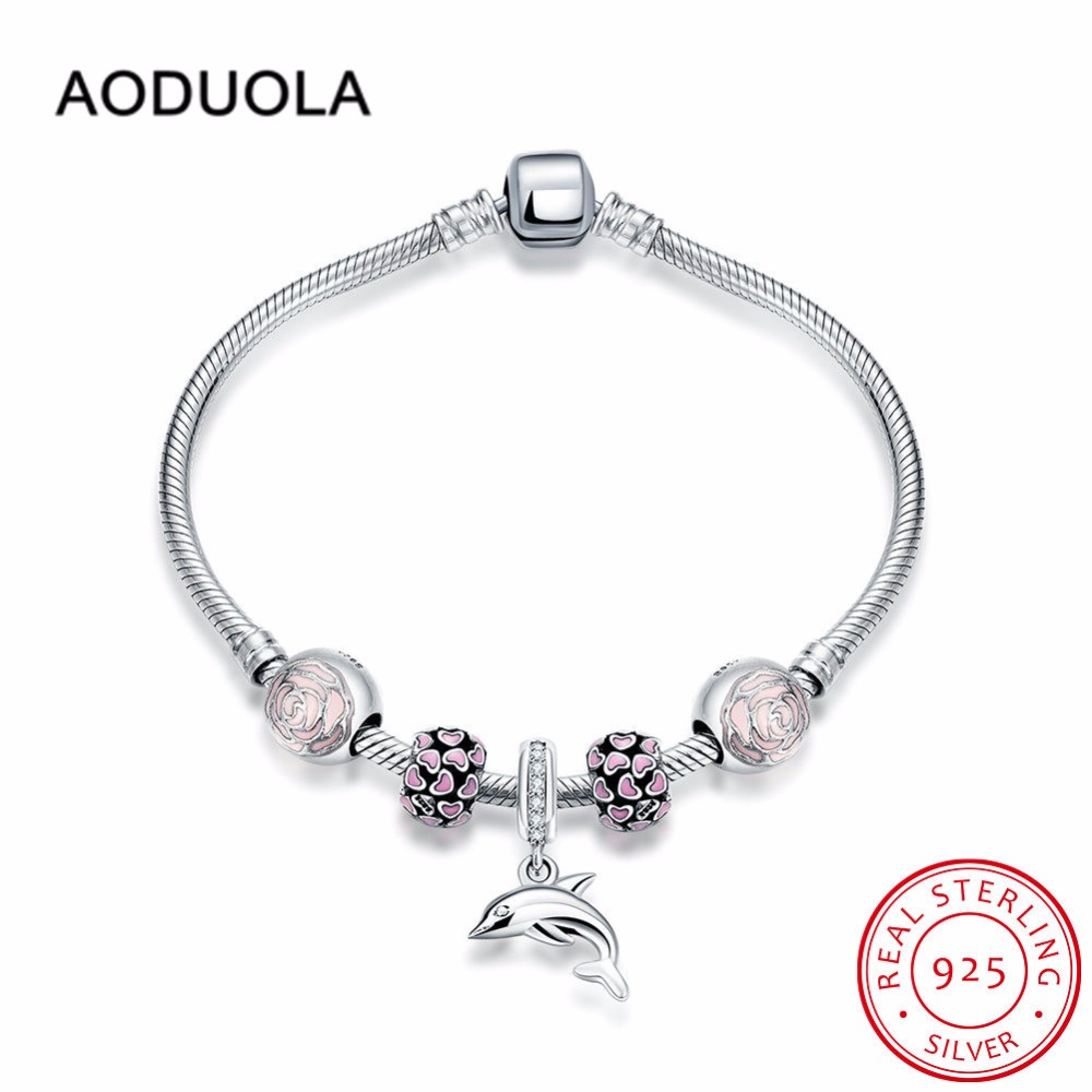 19 cm Sterling Silver 925 DIY Bracelet with Dolphin Charm and Rose Pink Enamel Heart Openwork Beads & Pink Enamel Flower Bead flower striped cut and sew dolphin hem tee