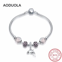 19 cm Sterling Silver 925 DIY Bracelet with Dolphin Charm and Rose Pink Enamel Heart Openwork Beads & Pink Enamel Flower Bead