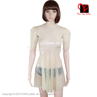 Sexy Swing Skater Latex Dress Puff short sleeves Maid Rubber flare tail baby doll Playsuit Bodycon Transparent plus size QZ 003