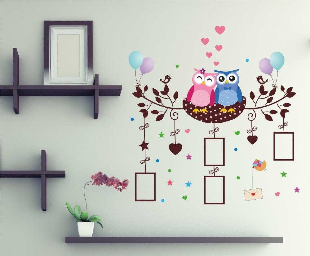 Zoete droom uilen vogels koppels nest muurstickers kinderen