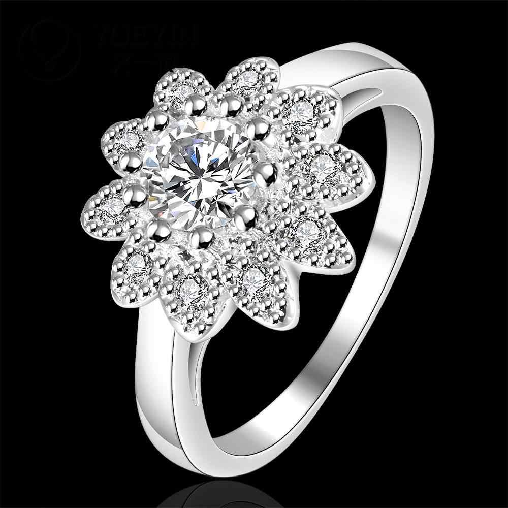 Anillo de dedo Chapado en plata con forma de flor para dama bijoux mujeres incrustadas gran piedra caliente